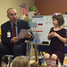 Superintendent Soma Reads to First Grade Students