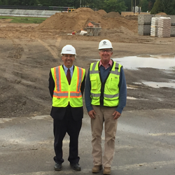Superintendent Soma visits the Eastern Elementary construction site.