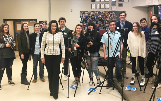 Governor Whitmer with Student Reporters